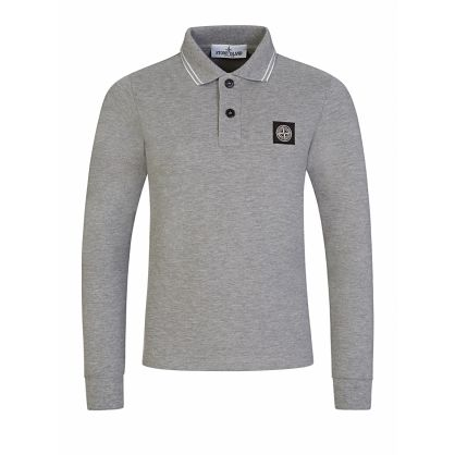 Junior Grey Long-Sleeve Compass Polo Shirt