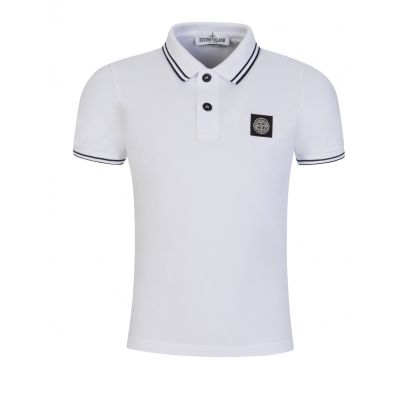 Junior White Tipped Collar Polo Shirt
