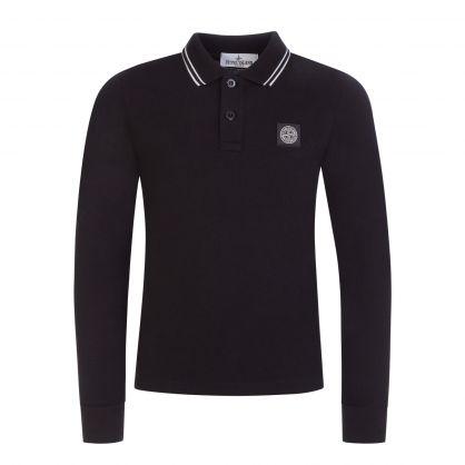 Junior Black Long-Sleeve Compass Logo Polo Shirt