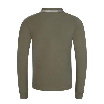 Junior Green Long-Sleeve Compass Logo Polo Shirt