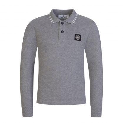 Junior Grey Long-Sleeve Compass Logo Polo Shirt