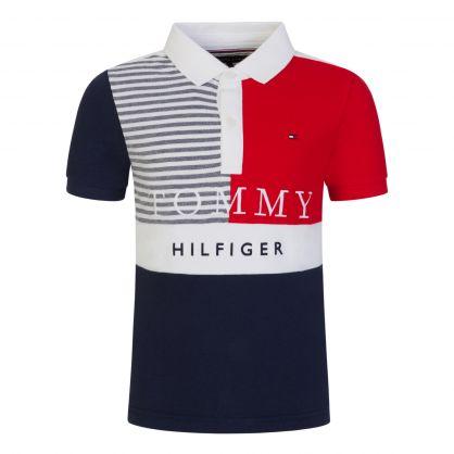 Kids White Colour-Blocked Ithaca Stripe Polo Shirt