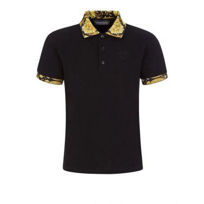 Black Junior Baroque Collar Polo Shirt