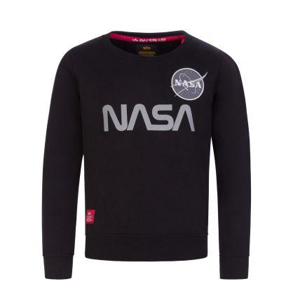 Kids Black Reflective NASA Logo Sweatshirt