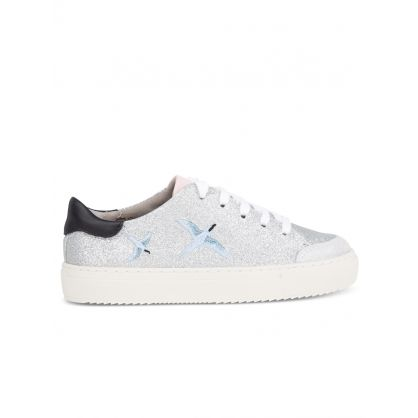 Kids Silver Glitter Clean 90 Bird Trainers