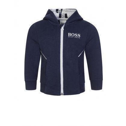 Navy Blue Zip-Through Tracksuit Hoodie