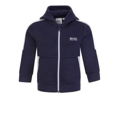 Navy Essential Zip-Through Hooded Tracksuit Top