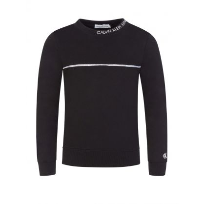 Jeans Kids Black Piped Logo Sweatshirt
