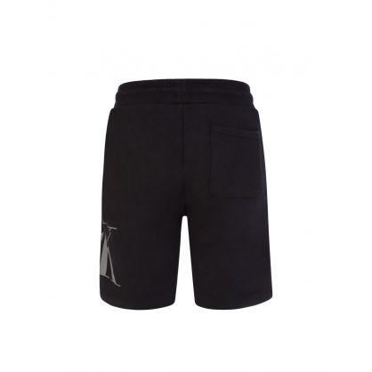 Jeans Kids Black Organic Cotton Logo Jogger Shorts
