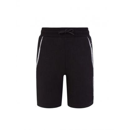 Jeans Kids Black Logo Piping Shorts