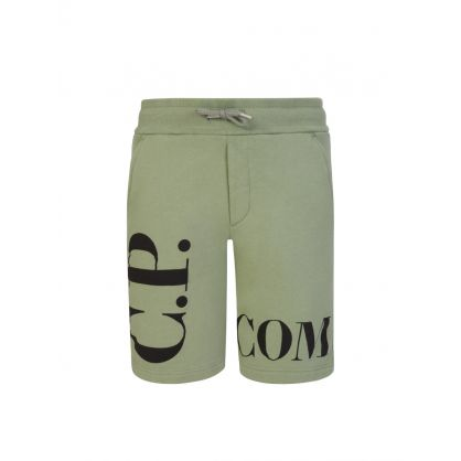 Green Basic Fleece Logo Sweat Shorts