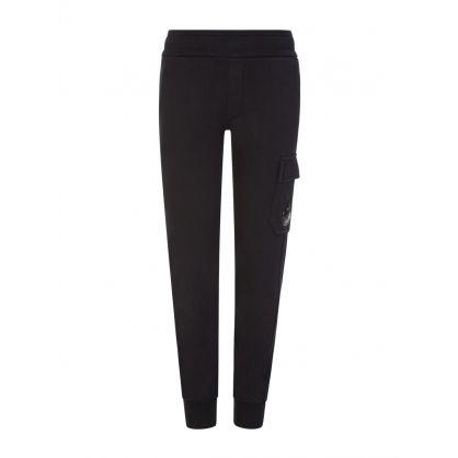 Black Basic Fleece Cargo Sweatpants