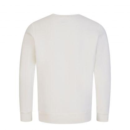 White Tonal Logo Fleece Sweatshirt