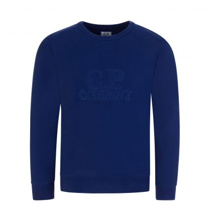 Blue Stitched Logo Fleece Sweatshirt