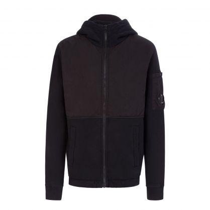 Black Fleece-Mixed Zip-Through Hoodie