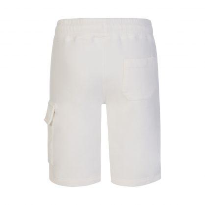 White Basic Fleece Bermuda Cargo Shorts