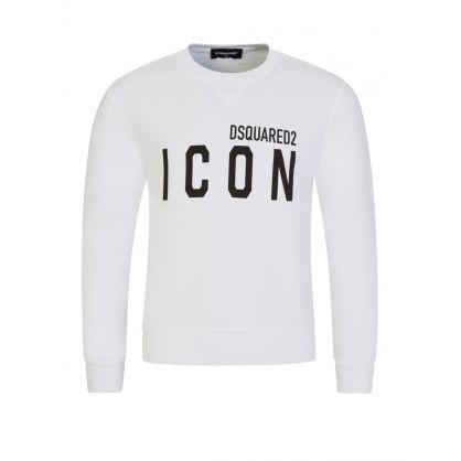 Kids White Relaxed-Fit ICON Sweatshirt