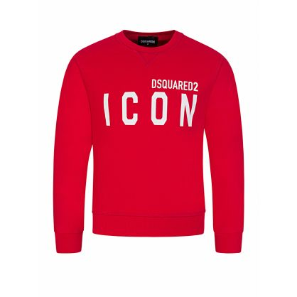 Kids Red Relaxed-Fit ICON Logo Sweatshirt