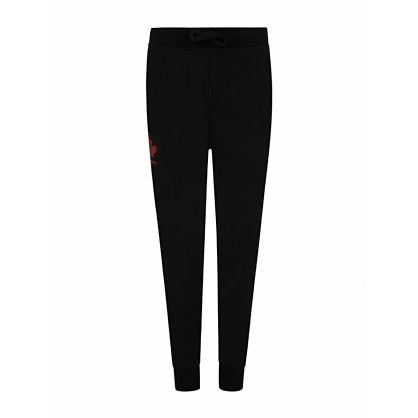 Kids Black Maple Leaf Logo Print Sweatpants