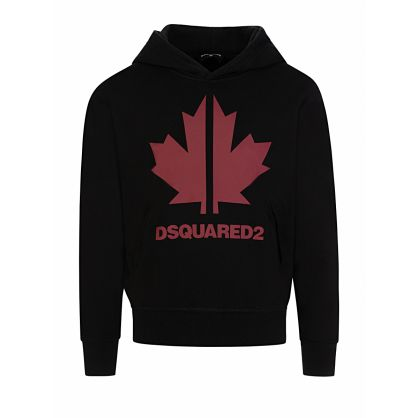 Kids Black Cool-Fit Maple Leaf Logo Hoodie