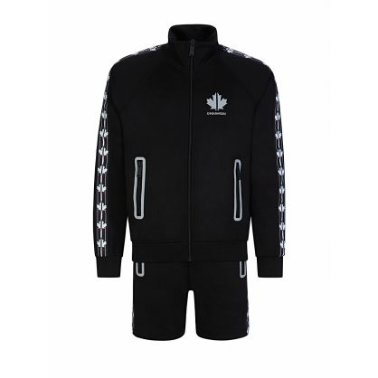 Kids Black Relaxed-Fit Maple Leaf Track Top