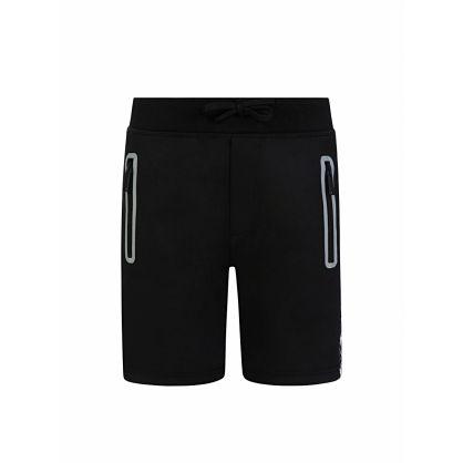 Kids Black Maple Leaf Logo Tape Shorts