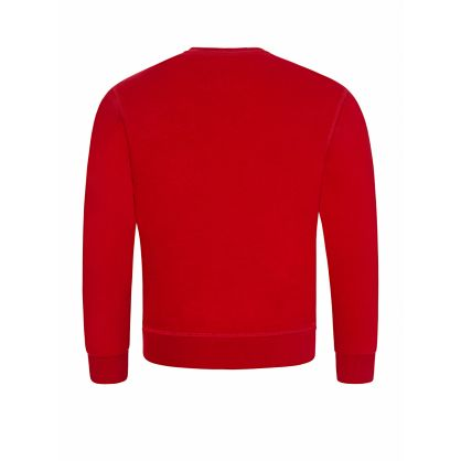 Kids Red Relaxed-Fit Fractured Logo Sweatshirt