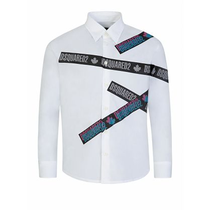 Kids White Cotton Logo-Print Shirt