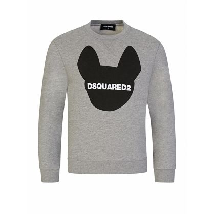 Kids Grey Relaxed-Fit Dog Motif Sweatshirt