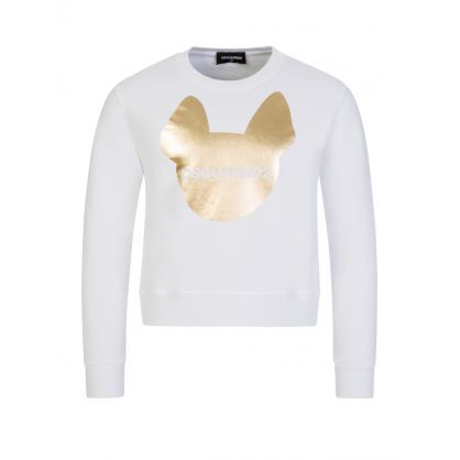 Kids White Dog Print Sweatshirt