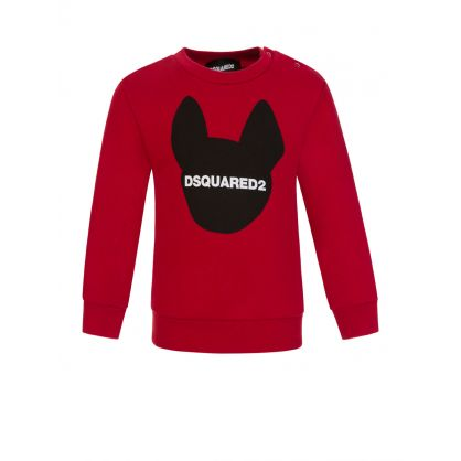 Kids Red Dog Motif Sweatshirt