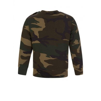 Kids Green Camo-Print ICON Sweatshirt