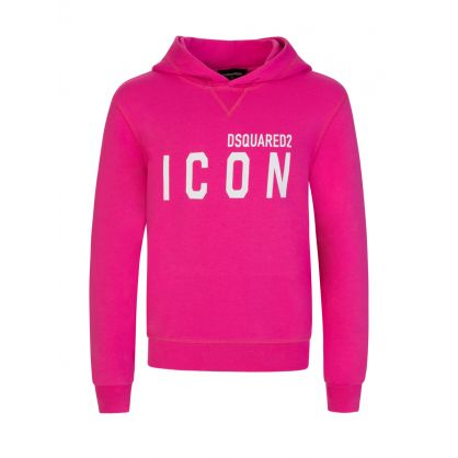 Kids Pink Relaxed-Fit ICON Hoodie