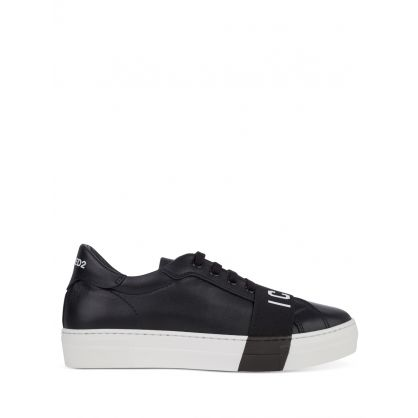 Kids Black ICON Tape Trainers