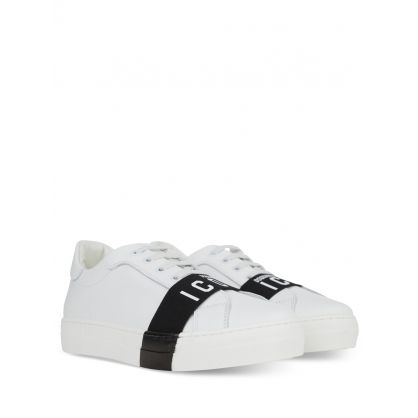 Kids White ICON Tape Trainers