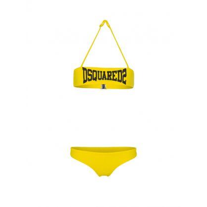 Kids Yellow 2-Piece Boxer Logo Bikini