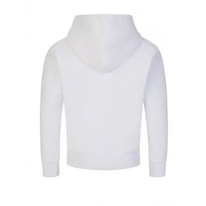 Kids White Cool-Fit Cotton Popover Hoodie