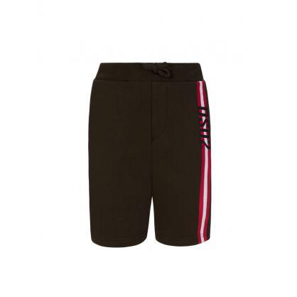 Kids Green Stripe Logo Shorts