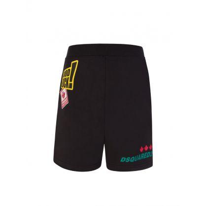 Kids Black Multi-Logo Sweat Shorts