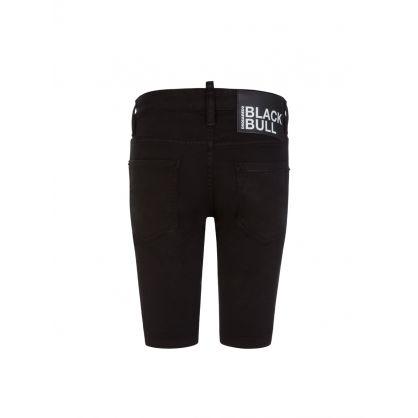 Kids Black Denim Black Bull Shorts