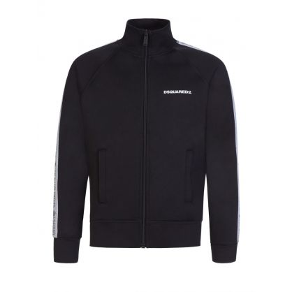 Kids Black Sport Edtn. Tape Logo Zip-Through Track Top