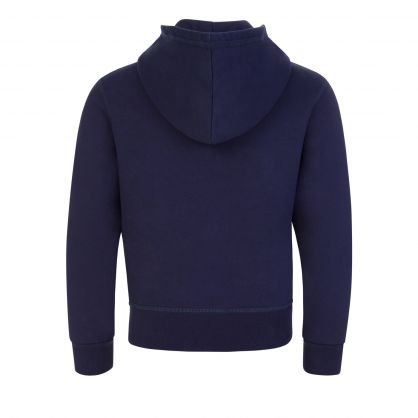 Kids Navy Blue Relaxed-Fit ICON Zip-Through Hoodie