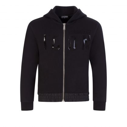 Kids Black Relaxed-Fit ICON Zip-Through Hoodie