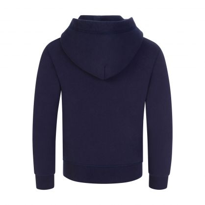 Kids Navy Relaxed-Fit Leaf Logo Popover Hoodie