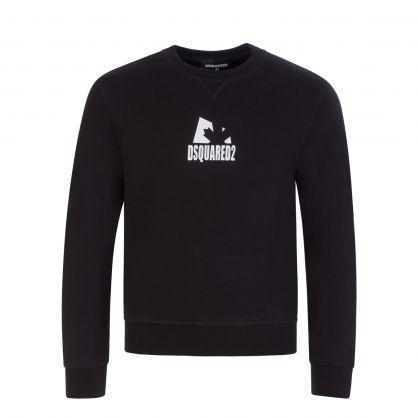 Kids Black Relaxed-Fit Shadow Leaf Sweatshirt