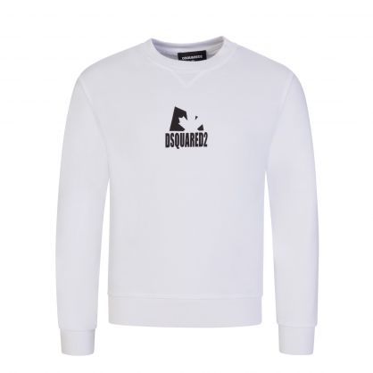 Kids White Relaxed-Fit Shadow Leaf Sweatshirt