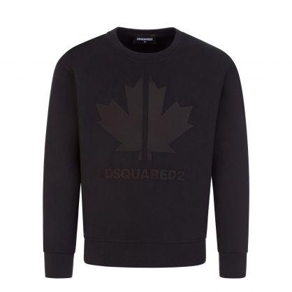 Kids Black Cool-Fit Leaf Sweatshirt
