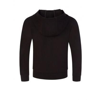 Junior Black Foil Logo Hooded Zip-Through