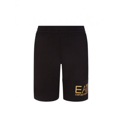Junior Black Foil Logo Shorts