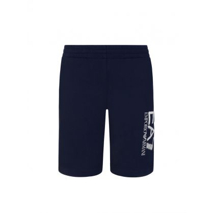 Junior Navy Leg Logo Sweat Shorts